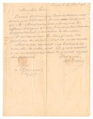 Primary view of object titled '[Letter from Henri Castro to Ferdinand Louis Huth, November 16, 1845]'.