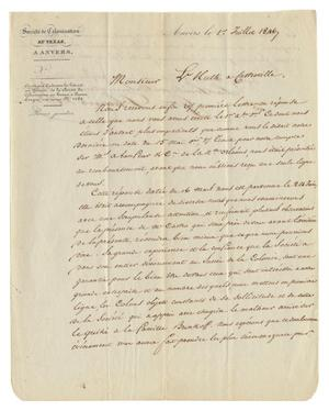 Primary view of object titled '[Letter from Guillaume D'Hanis to Ferdinand Louis Huth, July 1, 1846]'.