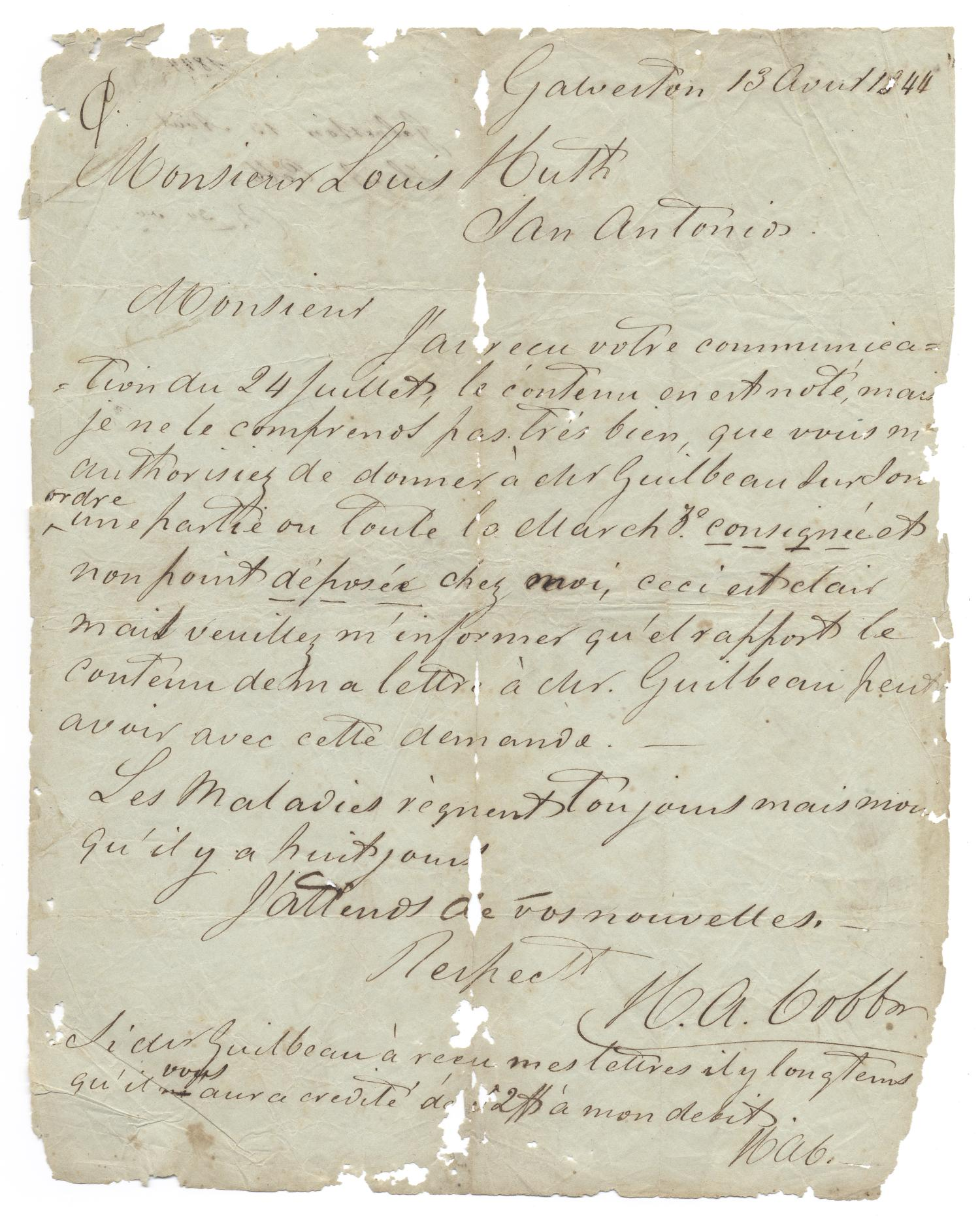 [Letter from H. A. Cobb to Ferdinand Louis Huth, April 13, 1844]                                                                                                      [Sequence #]: 1 of 2