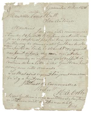 Primary view of object titled '[Letter from H. A. Cobb to Ferdinand Louis Huth, April 13, 1844]'.