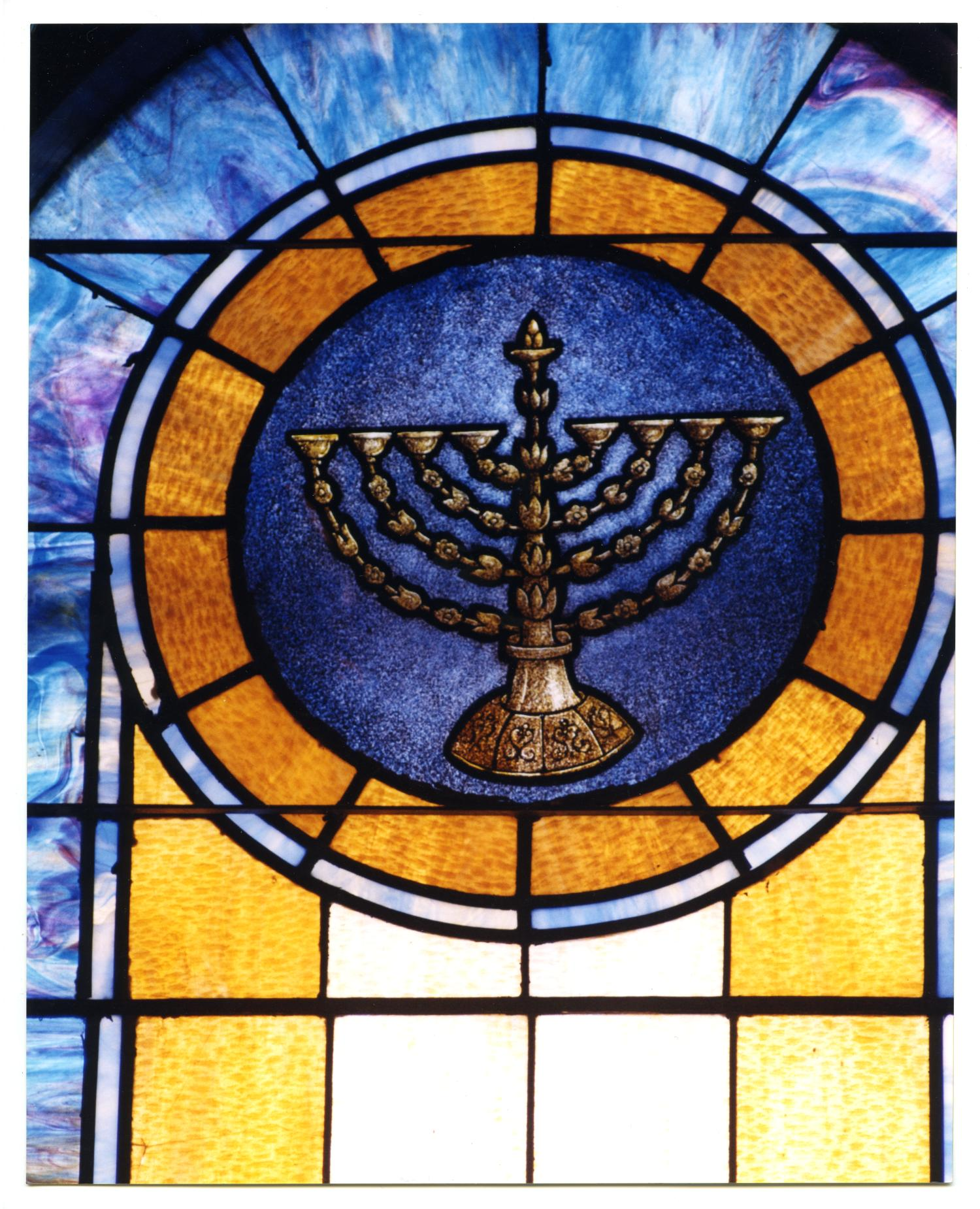 Stained Glass Window Pane Of Hanukkah Menorah The