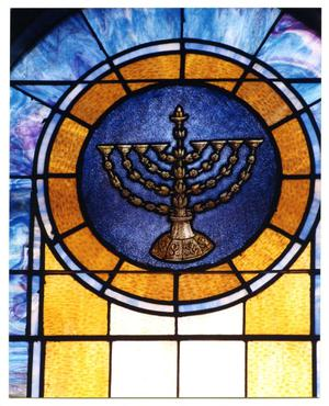 Primary view of object titled '[Stained Glass Window Pane of Hanukkah Menorah]'.