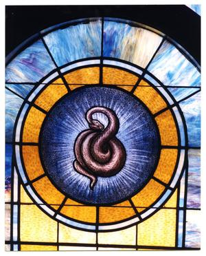 Primary view of object titled '[Stained Glass Window Pane of a Serpent]'.