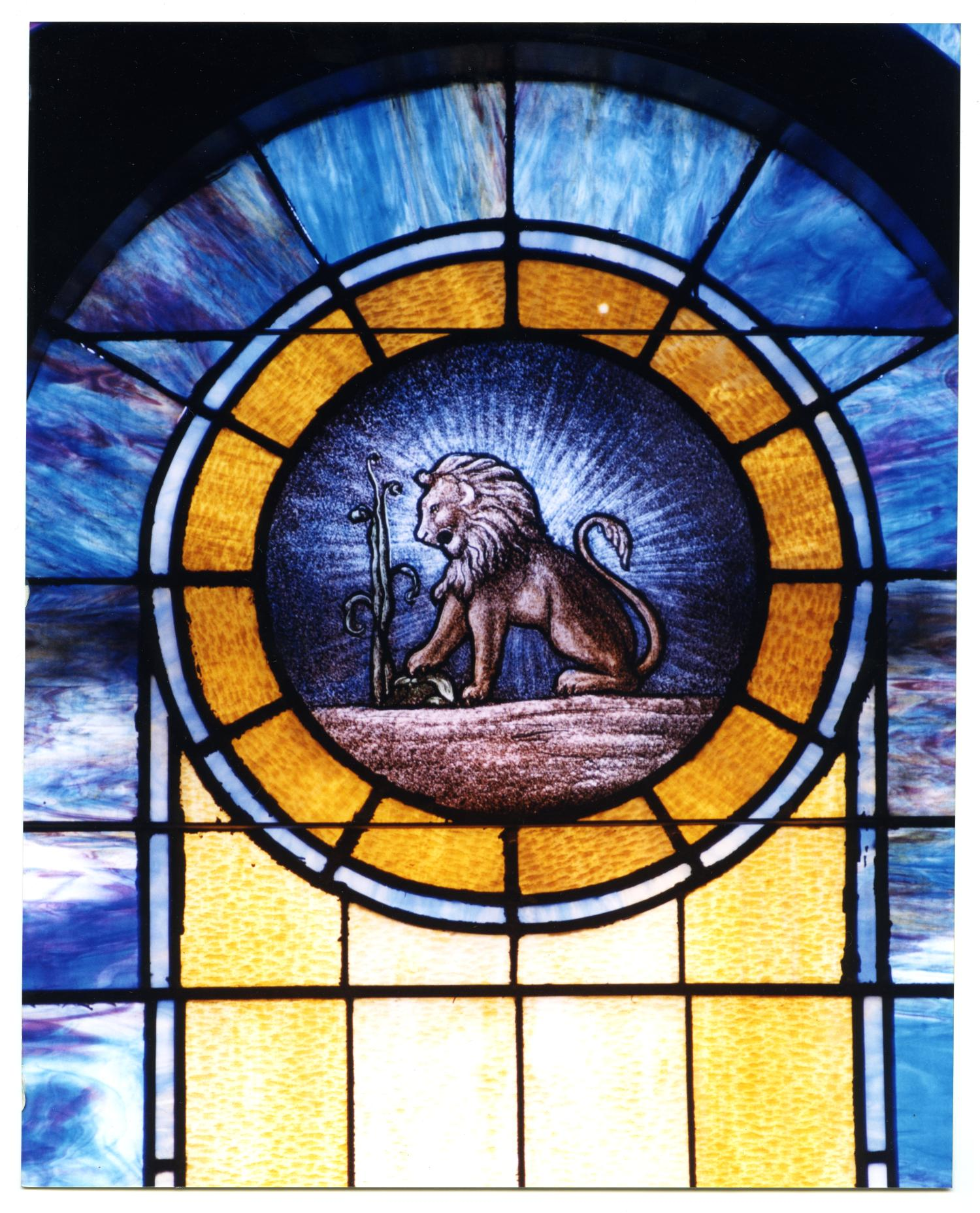 Stained Glass Window Pane Of A Lion The Portal To