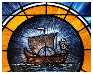 Primary view of object titled '[Stained Glass Window Pane of a Ship]'.