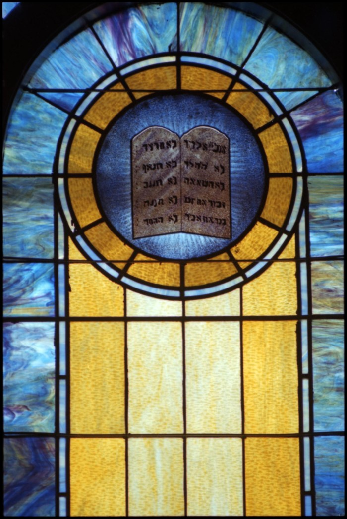 Stained Gl Window Pane Of The Ten Commandments