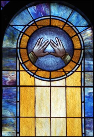 Primary view of object titled '[Stained Glass Window Pane of Outstretched Hands]'.