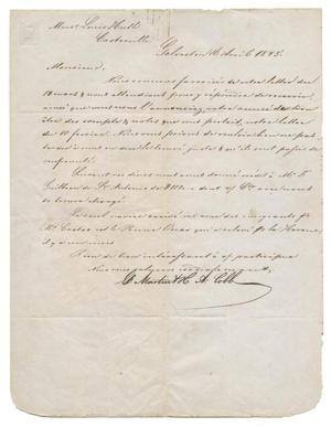 Primary view of object titled '[Letter from E. B. Martin and H. A. Cobb to Louis Huth, April 16, 1845]'.