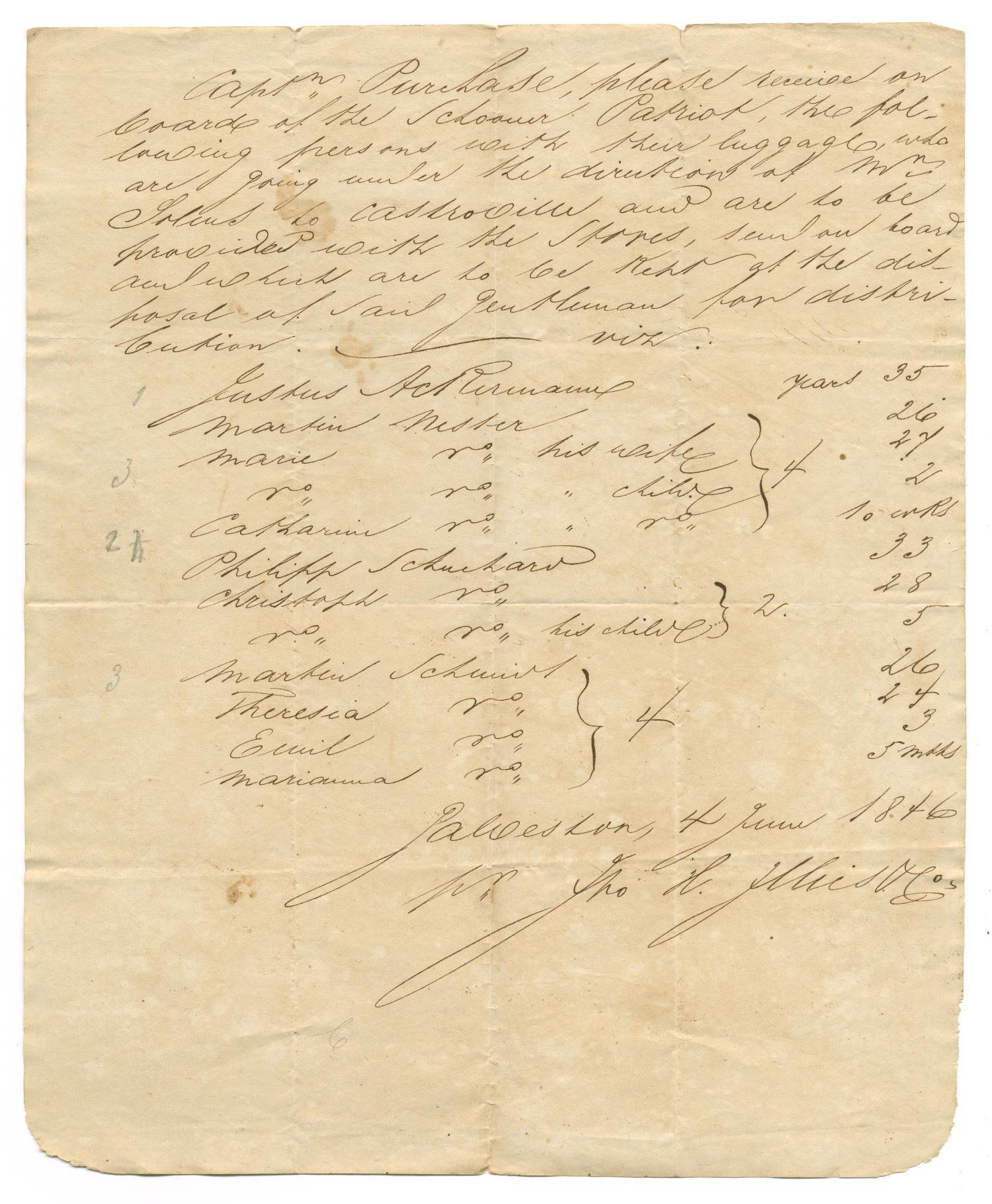[Document listing passengers bound for Castroville on the Patriot, June 4, 1846]                                                                                                      [Sequence #]: 1 of 1