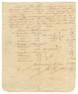 Primary view of object titled '[Document listing passengers bound for Castroville on the Patriot, June 4, 1846]'.