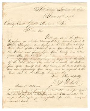 Primary view of object titled '[Letter from C. Librell to the County Court Clerk of Medina County, Texas, June 13, 1856]'.