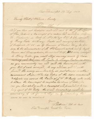 Primary view of [Letter from A. Dittmar to the Country Clerk of Medina County, August 29, 1850]