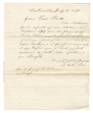 Primary view of object titled '[Letter from A. Carli & Bro. to Ferdinand Louis Huth, July 7, 1871]'.