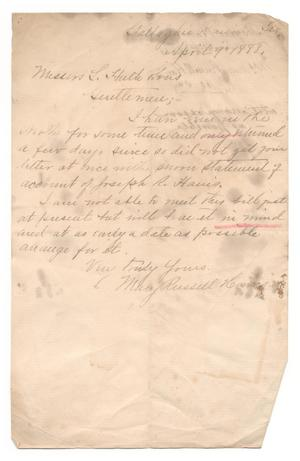 [Letter from Mary Russell Harris to L. Huth & Sons, April 9, 1888]