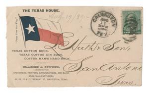 [Envelope addressed to L. Huth & Son in San Antonio advertising Clarke & Courts, Stationers, Printers, Lithographers, and Blank Book Manufacturers]