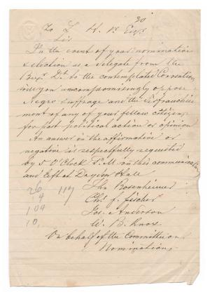 Primary view of object titled '[Letter from John Bosenheimer, Charles F. Fischer, Joseph Anderson and W. B. Knox to Ferdinand Louis Huth]'.