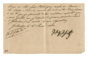 Primary view of object titled '[Receipt for 10 francs, 50 cents paid to Schertz, January 6, 1844]'.