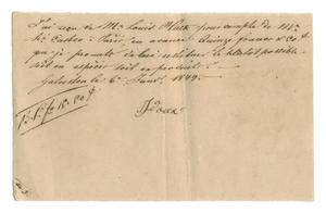 Primary view of object titled '[Receipt for 15 francs, 50 cents paid to J. Doux, January 6, 1844]'.