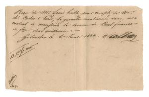 Primary view of [Receipt for 100 francs paid to Oualline, January 6, 1844]
