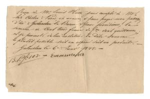 Primary view of object titled '[Receipt for 103 francs paid to Emmenecher for passage from Galveston, January 6, 1844]'.