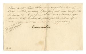 Primary view of object titled '[Receipt for 11 francs 50 cents paid to Emmenecher for supplies, January, 1844]'.