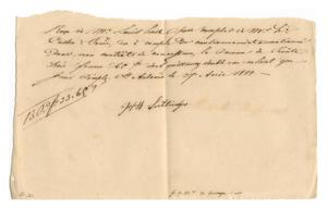 Primary view of object titled '[Receipt for 33 francs, 65 cents paid to Joseff Lutlinger, April 27, 1844]'.