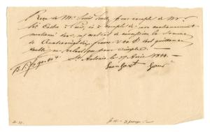 Primary view of object titled '[Receipt for 90 francs, 40 cents paid to Leonhart Hans, April 27, 1844]'.