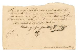 Primary view of object titled '[Receipt for 300 francs paid to Nicolas and Jean Ulric Zürcher, April 27, 1844]'.
