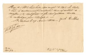 Primary view of object titled '[Receipt for 100 French francs paid to Jacob Winkler, April 27, 1844]'.
