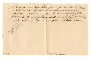 Primary view of object titled '[Receipt for 23 franc, 10 cents paid to Silvester Simon, April 27, 1844]'.
