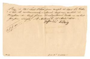 Primary view of object titled '[Receipt for 100 francs paid to Zakarios Ludwig, April 27, 1844]'.