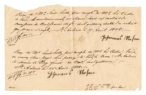 Primary view of object titled '[Two receipts for moneys paid to Johannes Stefan, April 27, 1844]'.