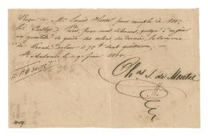Primary view of object titled '[Receipt for 30 dollars, 75 cents paid to Charles S. de Montel, June 9, 1844]'.