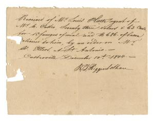Primary view of object titled '[Receipt for 73 dollars and 63 cents for meal and bacon, December 10, 1844]'.