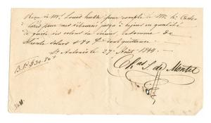 Primary view of object titled '[Receipt for 30 dollars, 80 cents, paid to Charles S. de Montel, August 27, 1844]'.
