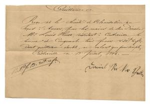 Primary view of object titled '[Receipt for 53 francs, 30 cents, paid to Daniel Matter, July 12, 1846]'.