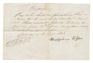 Primary view of object titled '[Receipt for 110 francs, 5 cents, August 8, 1846]'.