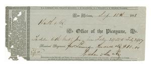 Primary view of object titled '[Receipt from the Office of the Picayune in New Orleans, September 15, 1858]'.