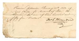 Primary view of object titled '[Receipt for $150, January 12, 1854]'.