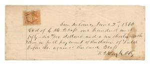 Primary view of object titled '[Receipt for $156.90 and a six shooter worth $18, June 2, 1866]'.