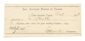 Primary view of object titled '[Receipt for $3 from L. Huth for dues, October, 1873]'.