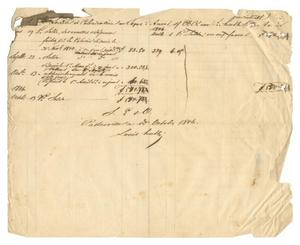 [Balance sheet showing the accounts of the Antwerp Society for Texas Colonization from March through October, 1846]