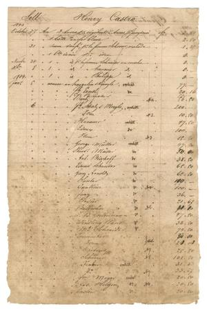 Primary view of object titled '[Balance sheet showing financial transactions relating to Henri Castro, 1843-1844]'.