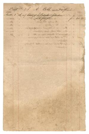Primary view of object titled '[Balance sheet showing financial transactions relating to Castroville, 1844]'.