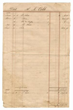Primary view of object titled '[Balance sheet showing financial transactions, January 1844 to January 1845]'.