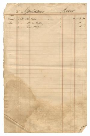 Primary view of object titled '[Balance sheet showing financial transactions, January 1844 to February 1844]'.