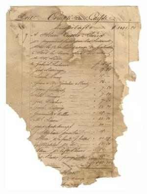 Primary view of object titled '[Balance sheet listing payments and other financial transactions, May 1844]'.