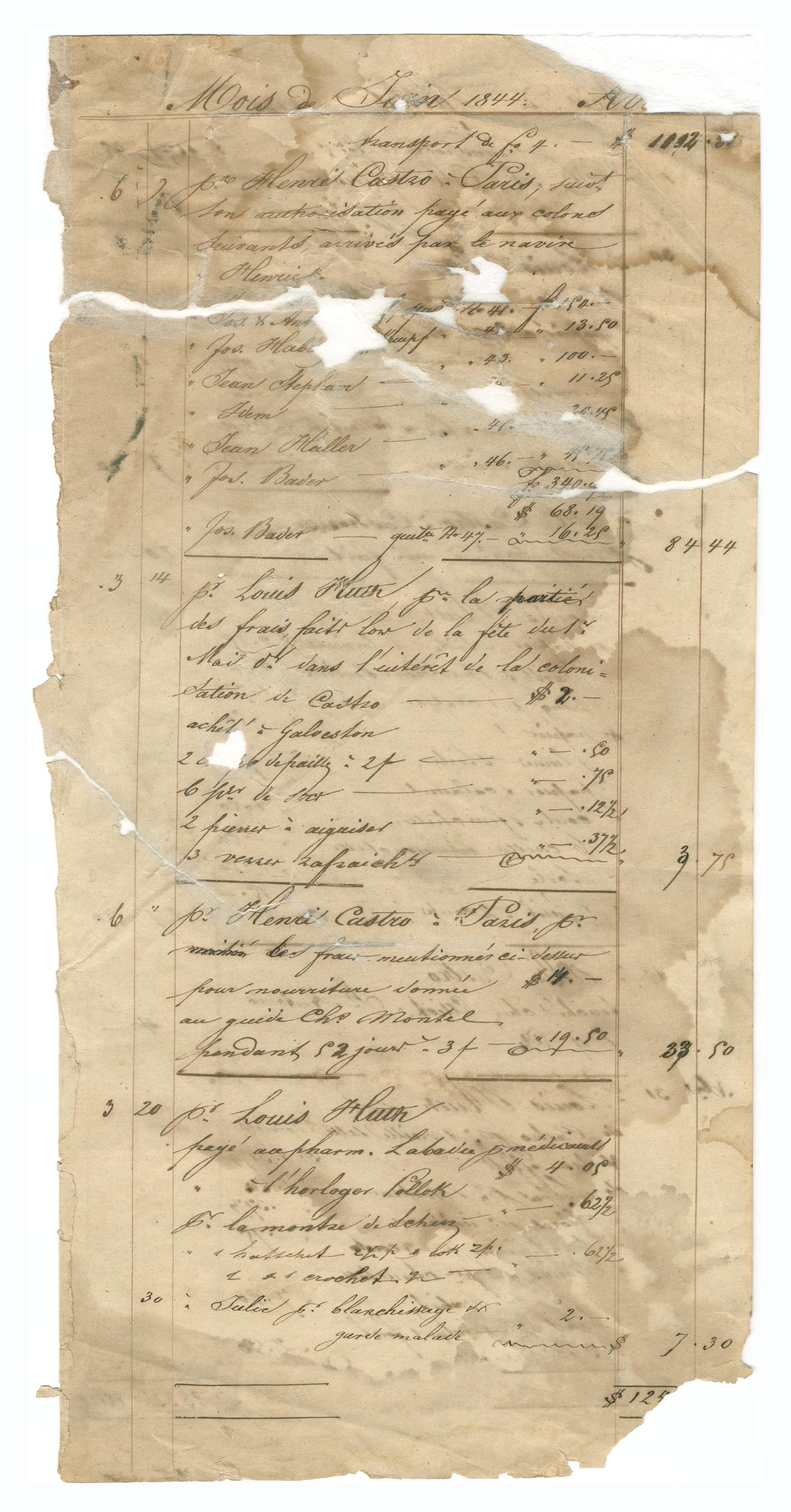 [Balance sheet listing payments and other financial transactions, June and July 1844]                                                                                                      [Sequence #]: 1 of 2