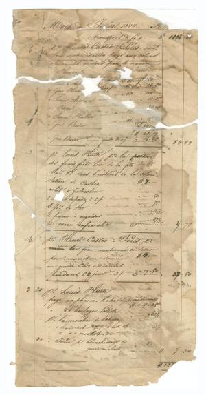 Primary view of object titled '[Balance sheet listing payments and other financial transactions, June and July 1844]'.