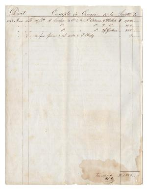 Primary view of object titled '[Balance sheets showing financial transactions, March 1846 to September 1846, with note from Henri Castro]'.